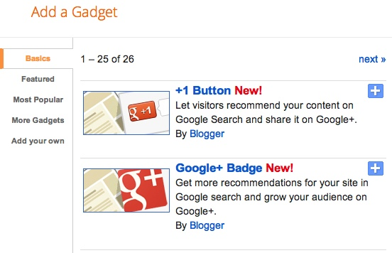 Google+ gadgets for Blogger