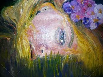 """""""Recostada sobre el césped"""" pintura de corazón a la razón"""