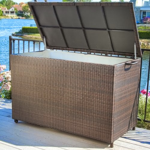 Exceptionnel Pool Supply Storage For Swimming Pool Accessories Brown Wicker Patio Storage  Box. This Weather Resistant Wicker Storage Cabinet Has Interior Lining And  ...