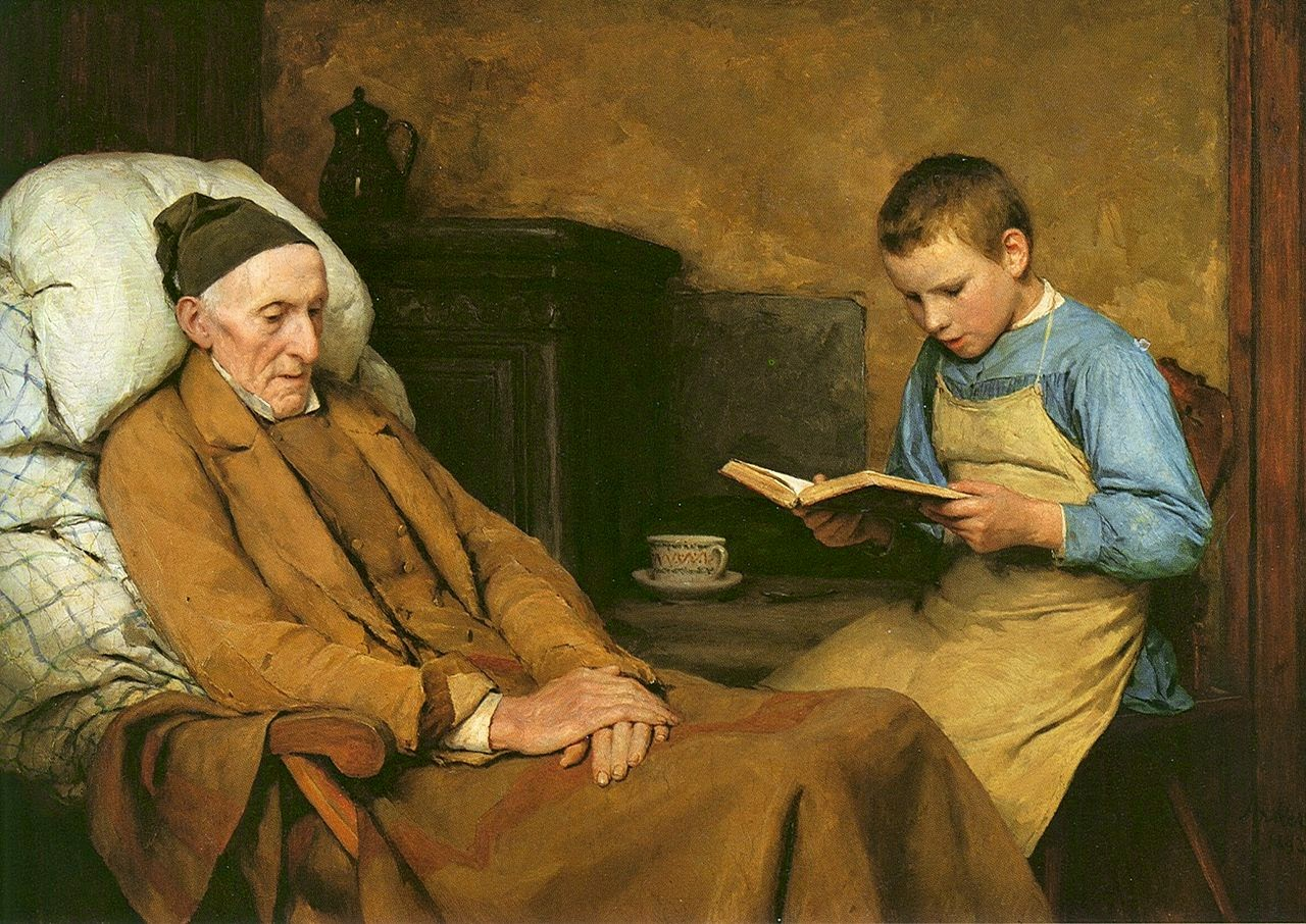 child reading,grandpa,albert anker