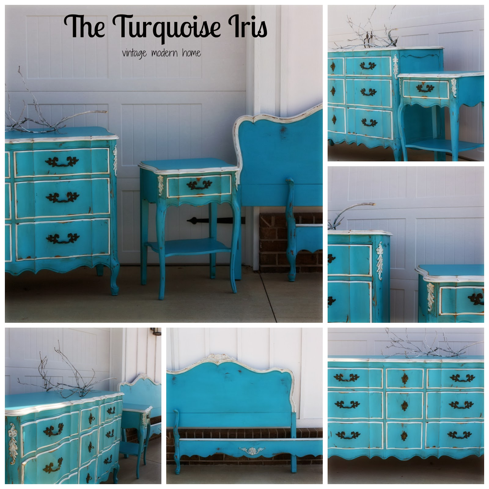 Turquoise French Bedroom Set