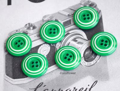 bouton vintage vert blanc - www.cocoflower.net