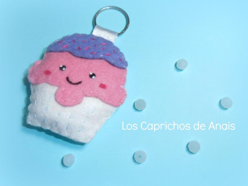 Llavero cupcake de fieltro Los Caprichos de Anais