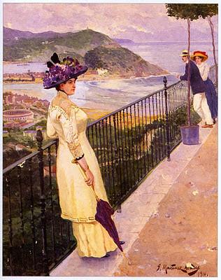 ilustración retro dama con sombrero