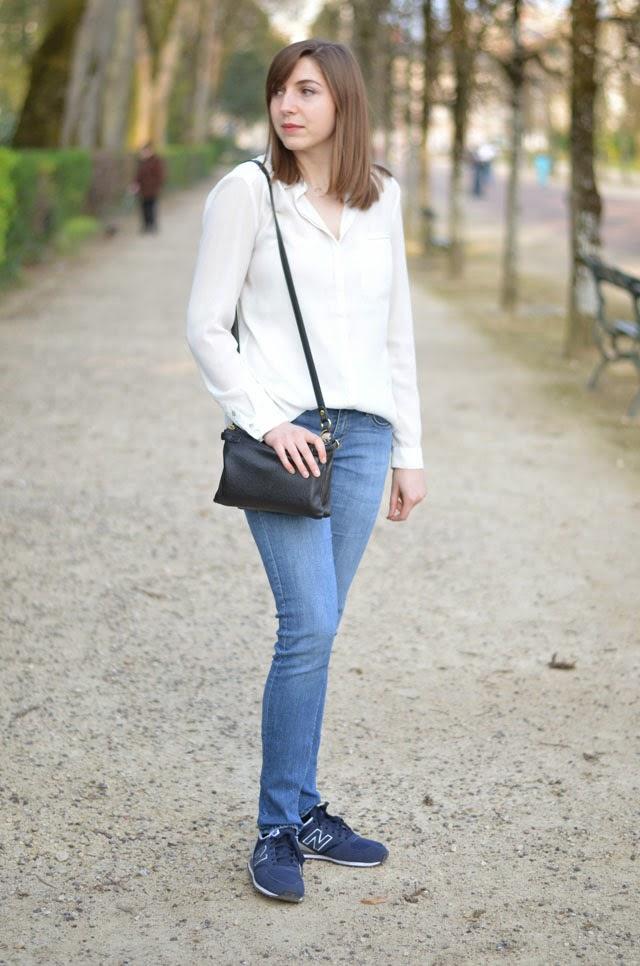 chemise blanche fluide new balance 420 bleu marine
