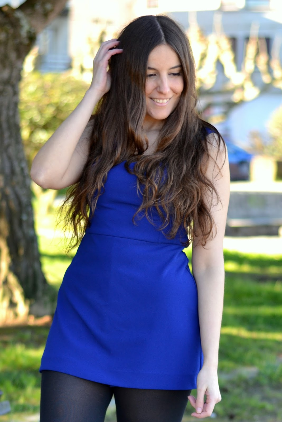 blue klein zara dress or jumpsuit