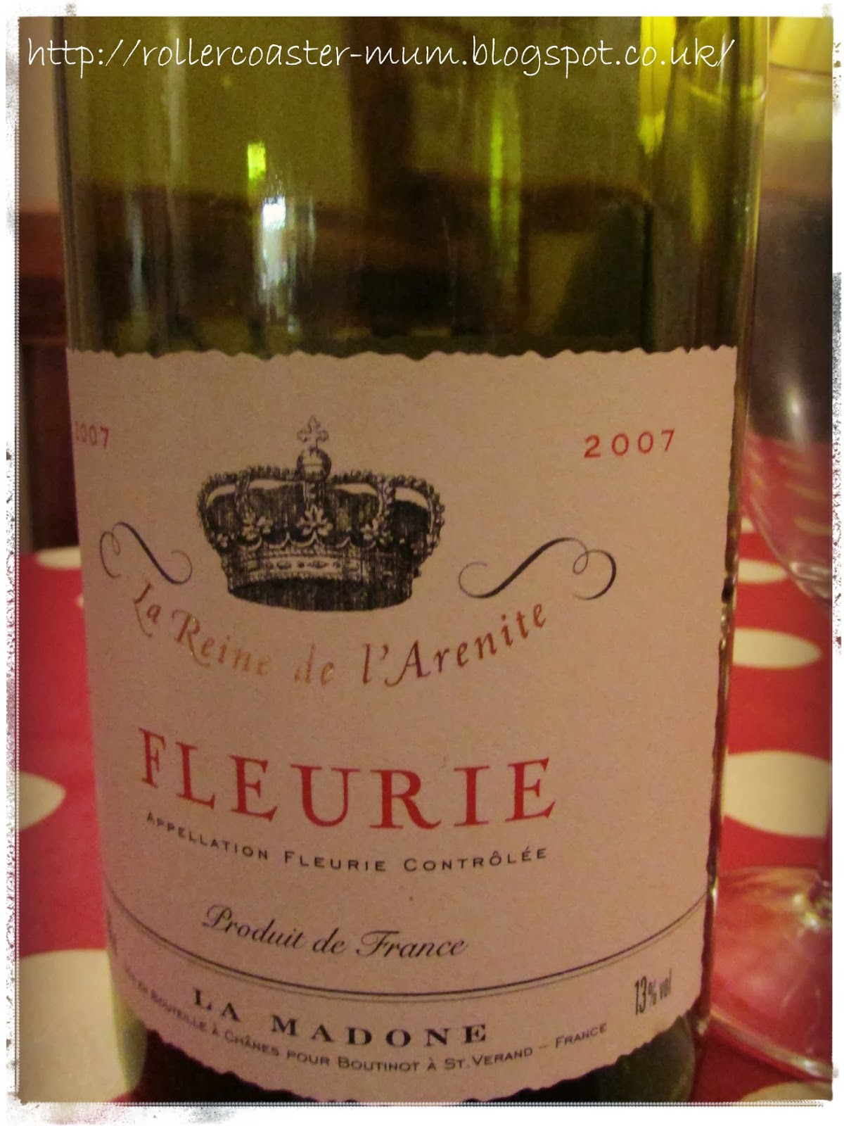 Fleurie red wine - empty bottle