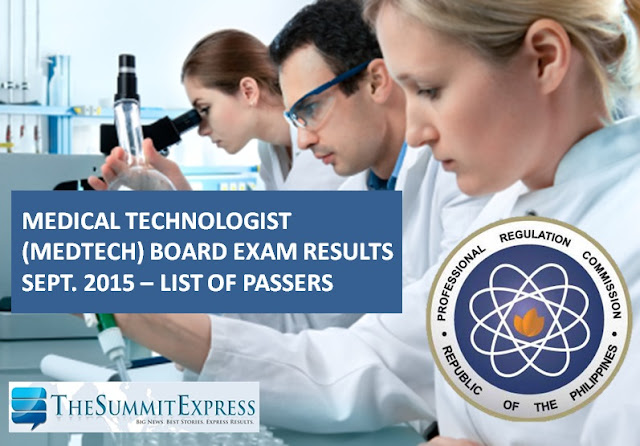 September 2015 Medical Technologist (MedTech) board exam