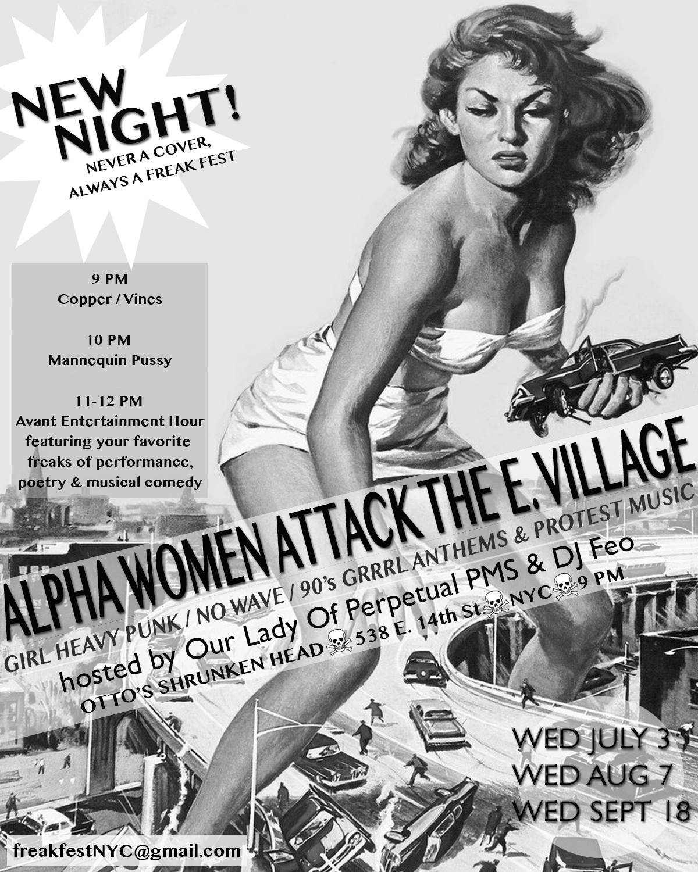 EV Grieve: Tomorrow night: Alpha Women Attack the East Villagealpha village