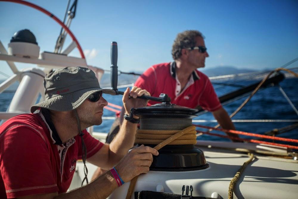 Michel Desjoyeaux et Nicolas Lunven sur la Volvo Ocean Race 2014.