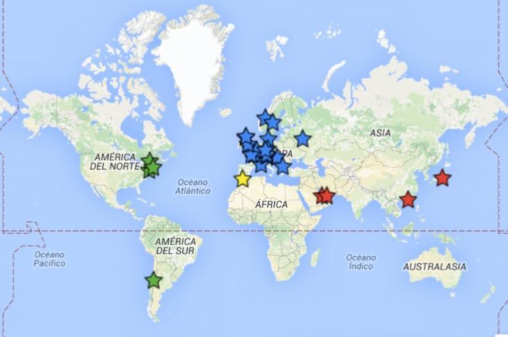 Mapa con los blogs de mamás expat