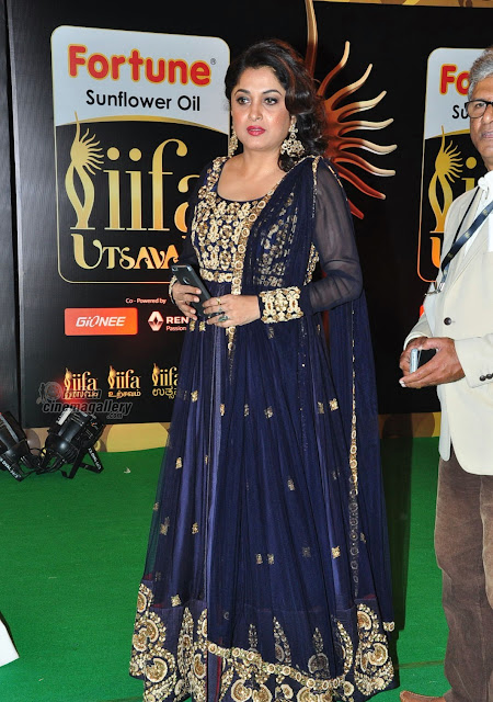 Ramya Krishna in Navy Blue Embroidered Floor Length Anarkali Suit at Day 2 of IIFA Utsavam Awards 2016