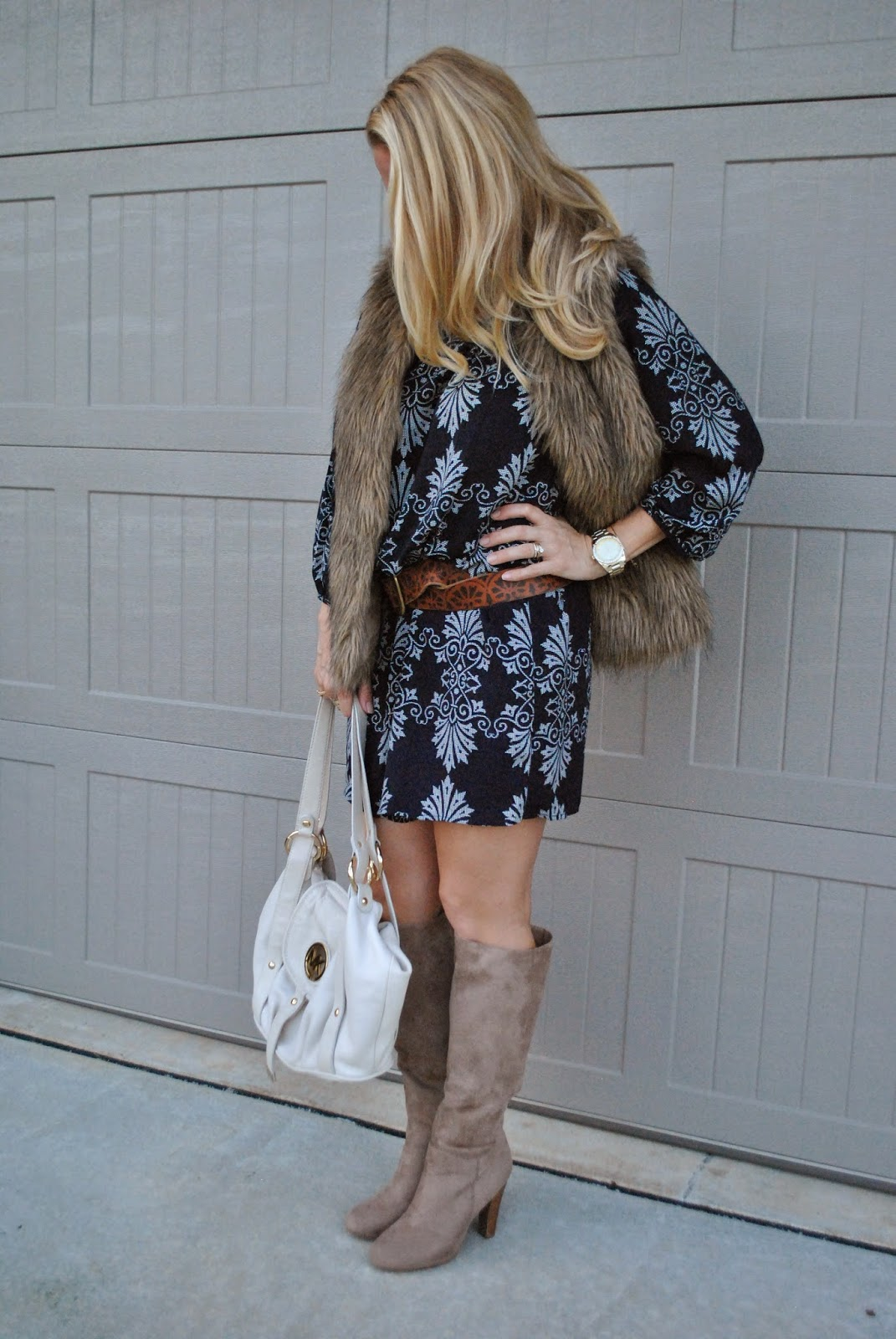 Forever 21 Baroque Print Shift Dress Stacked Heel Beige Boots Fur Vest~The Army Life of an Aviators Wife