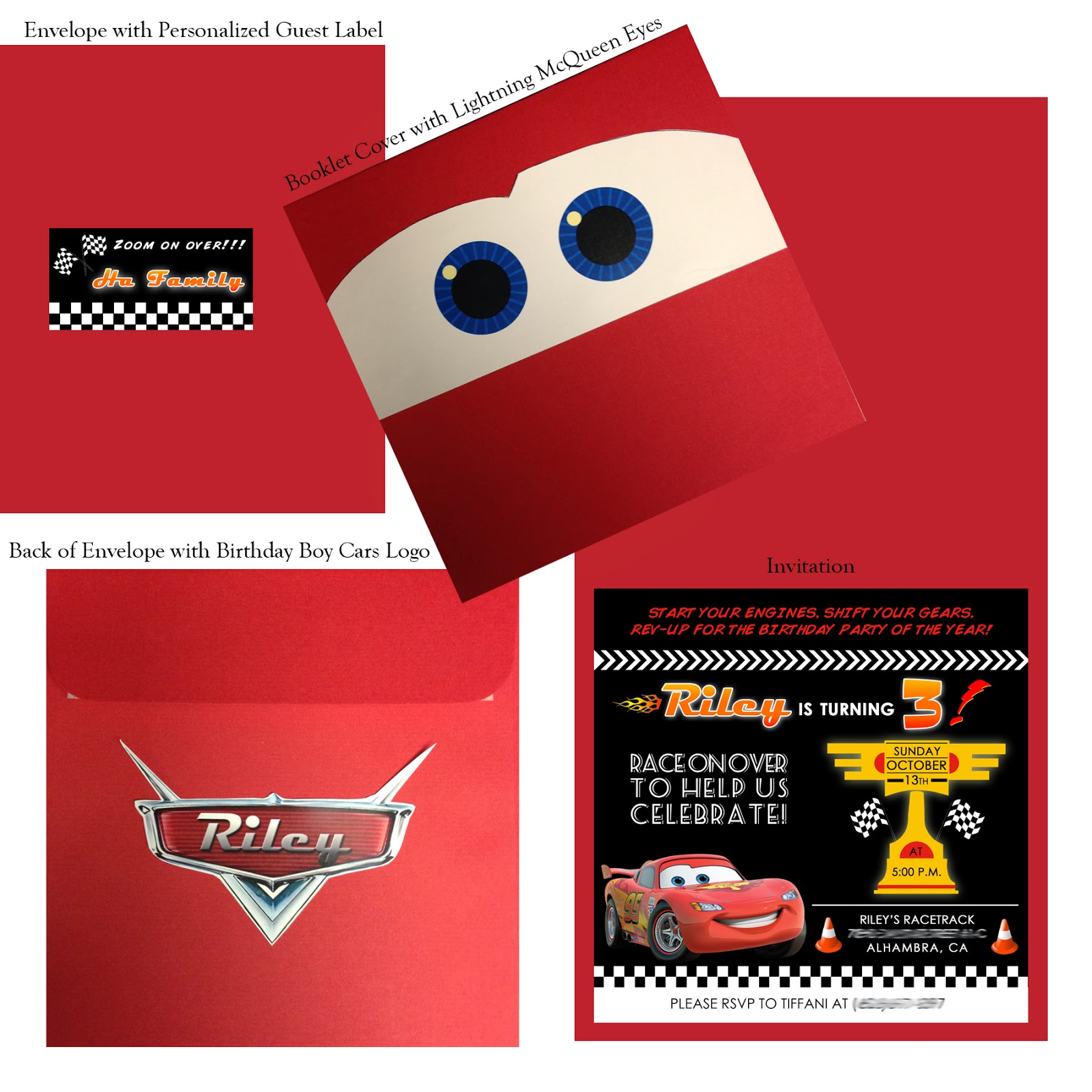 la design boutique a birthday party on the fast lane it was enclosed in a booklet fold that featured lightning mcqueen s eyes on the front the invitation was then placed in a racing red envelope