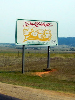 State line sign on Interstate 90 in South Dakota