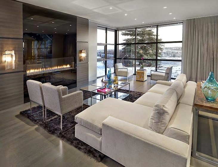 Sala De Estar Com Piso Cinza ~ Sala de estar com sofás e poltronas cinza! Paredes, piso, cortinas