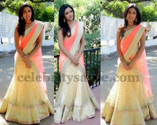 Eesha Cream Color Half Saree
