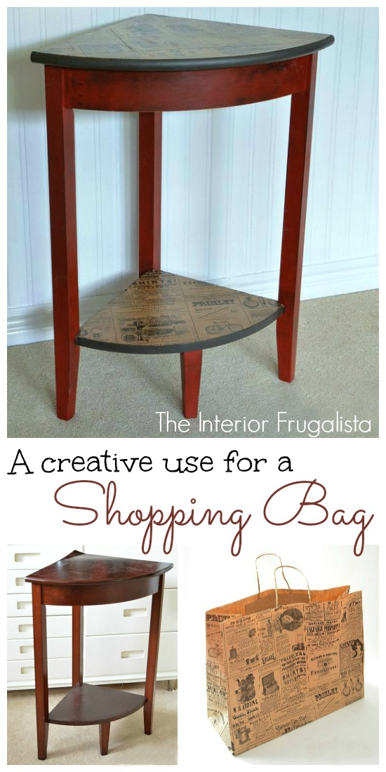 An free corner table plus a shopping bag equals a pretty and rustic table makeover