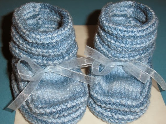 hand knitted baby booties little boy blue by Pear Creek Cottage