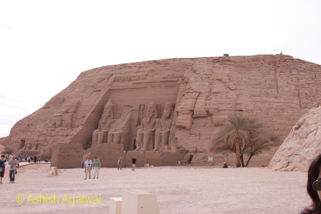 View of the temple of the Abu Simbel from a distance, giving an overall view