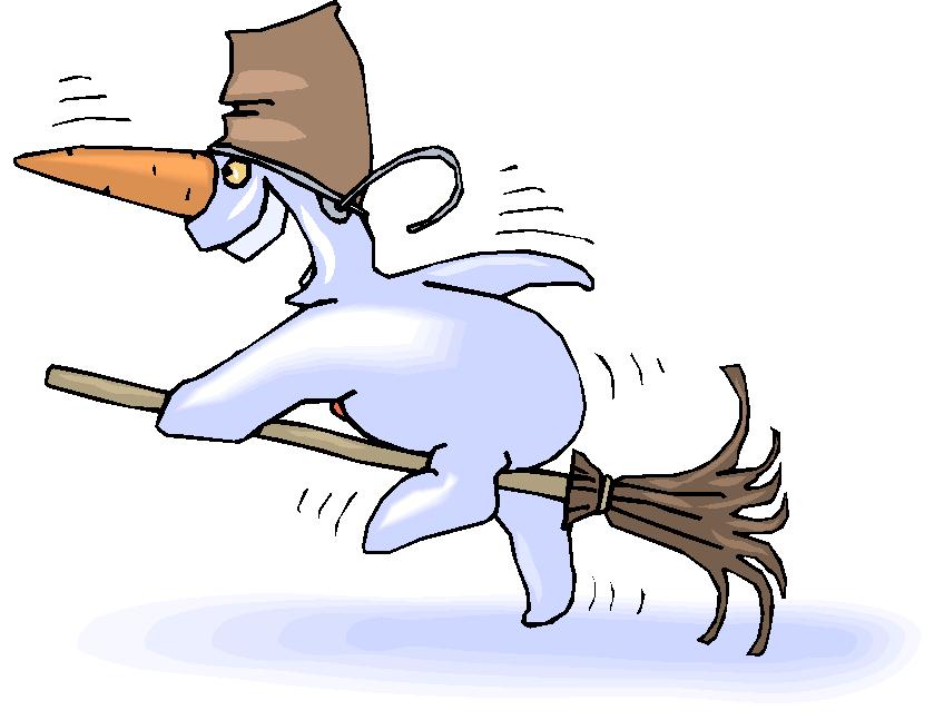 Snowman Ride a Broom Fantasy Clipart