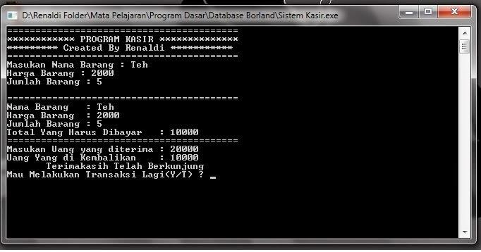 Tutorial Membuat Sistem Kasir dengan C++ Borland 5.02