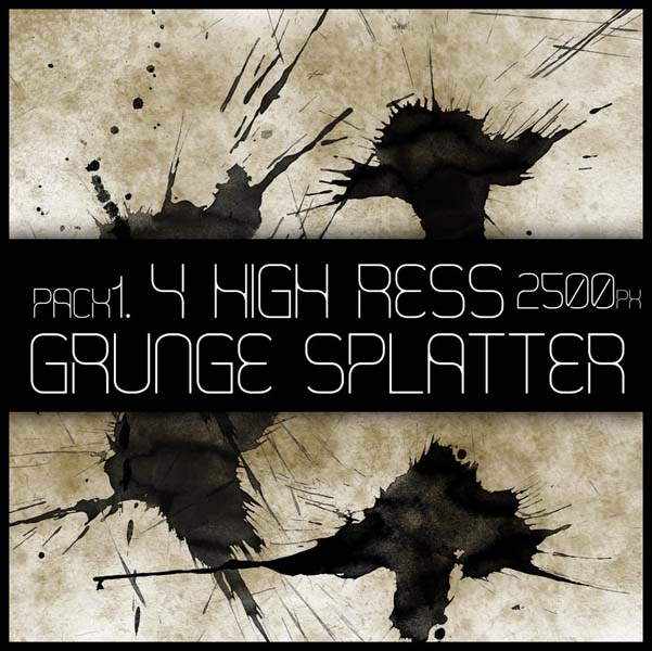 hr grunge splat brush pack 1 by viuff d373hfq 30 Must Have Grunge Photoshop Brushes Collection Set