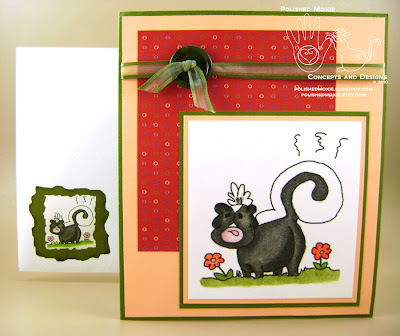 Picture of the skunk birthday card and its coordinating envelope