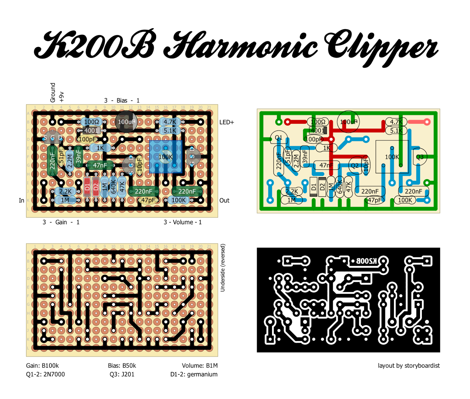 Perf And Pcb Effects Layouts Kustom K200b Harmonic Clipper Clippers An Overview Of Clipping Circuits Electronic A Lot The Credit For Adapting Original Circuit Into Pedal Form Goes To Group Cool Dudes On Diysb Pinkjimiphoton Digi2t Few Other Im