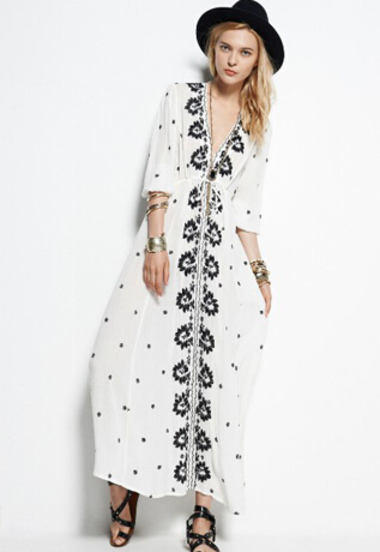 SheIn 2015 SS White V Neck Embroidered Maxi Dress