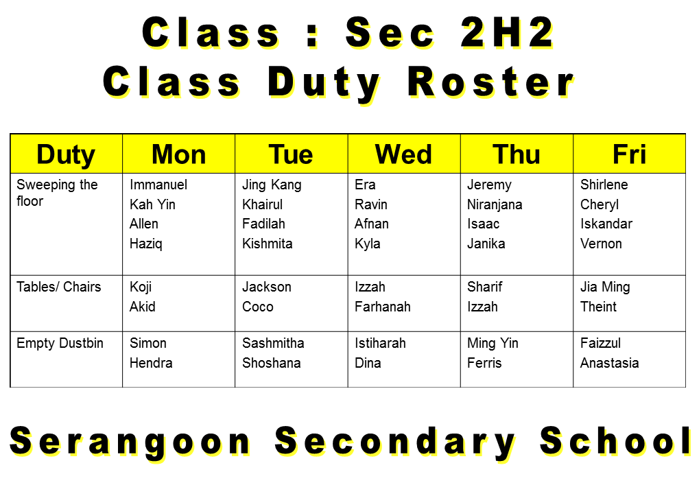 Sss2h2 duty roster 2013 for Duty schedule template