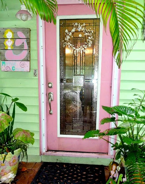 Tropical Florida Cottage Garden with Mermaid Art Shells