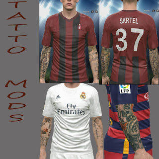 PES 2016 Tattoo Pack (Sergio Ramos, Messi, Skrtel) by Alief_Mods_PES