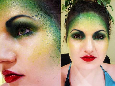 green forest fairy makeup