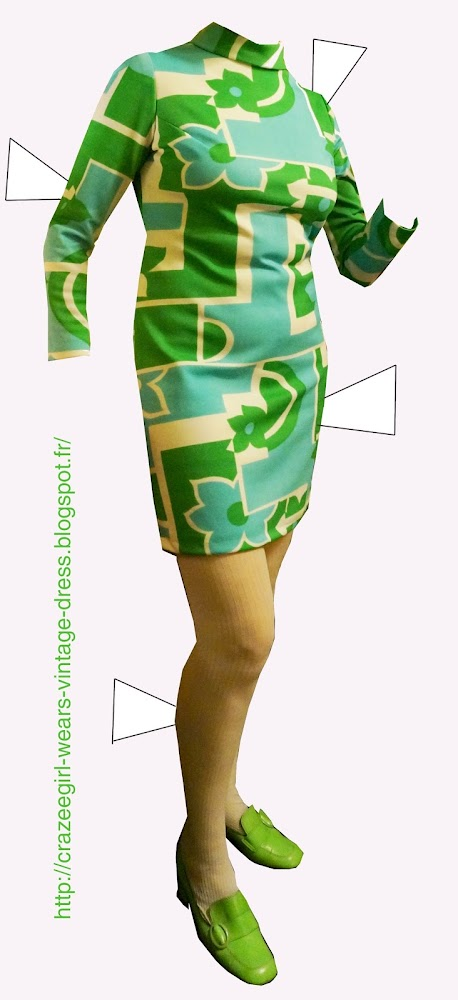 vintage geometric abstract print dress green blue loafers chunky heels 1960 1970 60s 70s coat canvas spring bag handbag