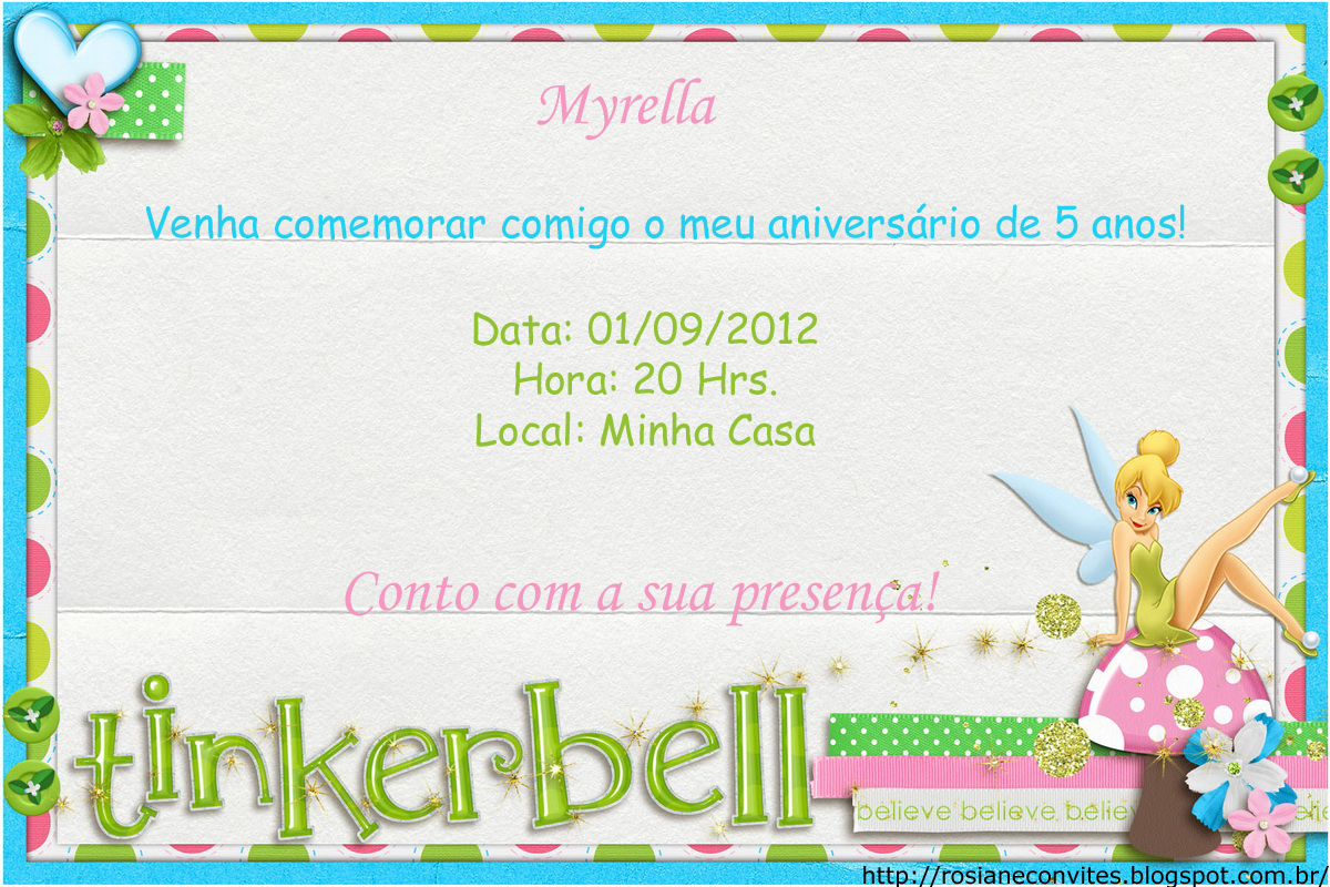 Rosiane Convites: Convites para aniversário de criança.