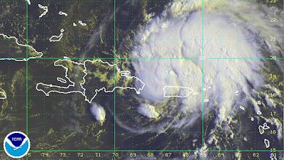 Imagen satélite del Huracán Carlota, 15 de Junio de 2012