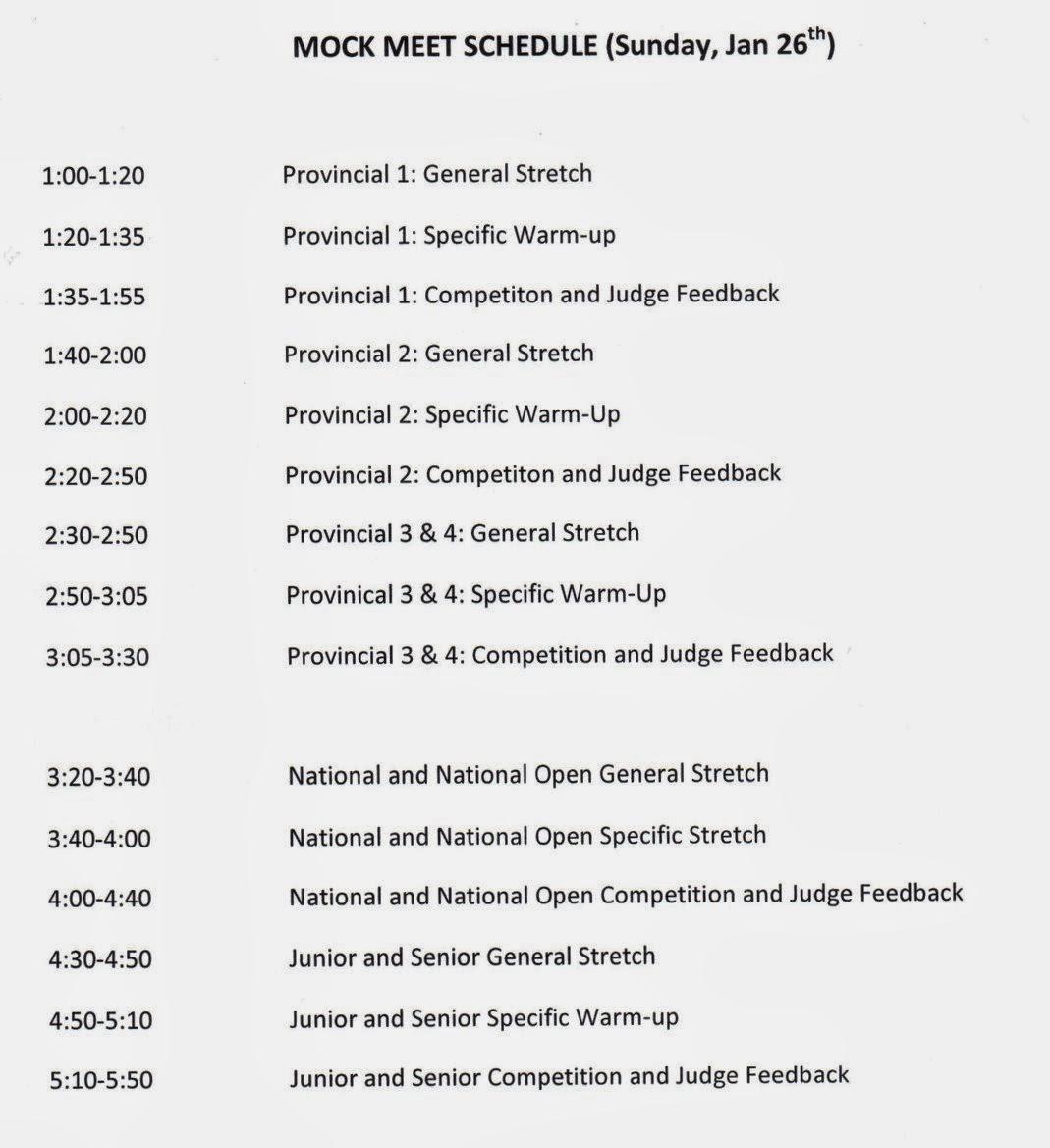 oakville gymnastics club tumbling program mock meet schedule sun