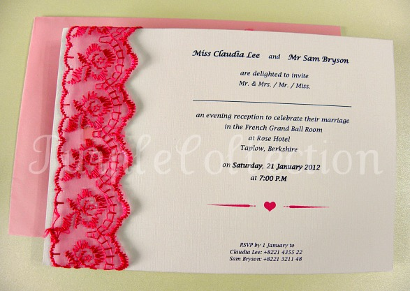 Lace Theme Wedding Invitation Card, wedding invitation card, lace theme card, lace card, lace invitation card, wedding card, handmade card, pink