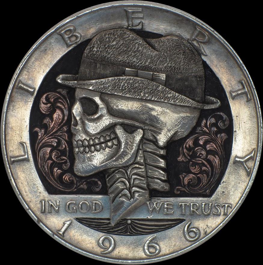 04-Halfdollar-1966-Paolo-Curio-aka-MrThe-Hobo-Nickels-Skull-Coins-&-Other-Sculptures-www-designstack-co