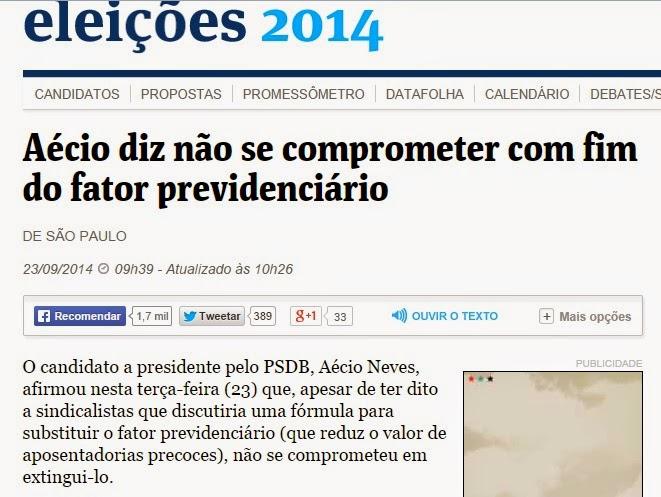 Aécio Neves se contradiz e afirma que não prometeu fim do fator previdenciário