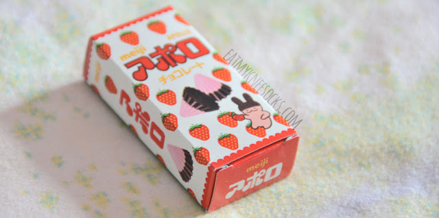 Close-up of the adorable packaging on the mini Meiji Kotsubu strawberry chocolates.
