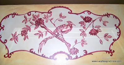 hand painted dresser with bird
