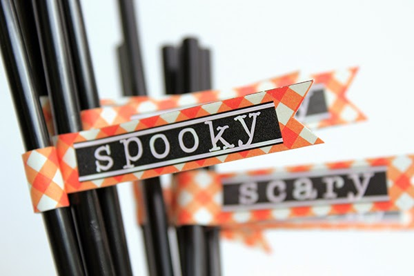 Spooky Halloween Table Decor Straws and Holder by Juliana Michaels detail