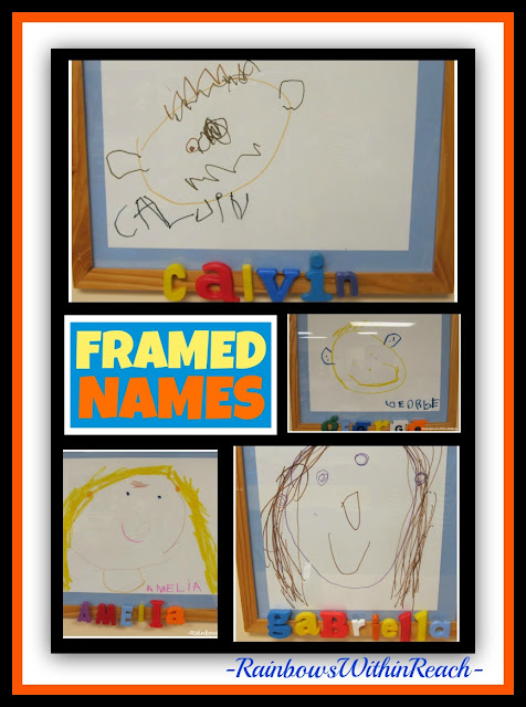 Children's Drawings Personalized with Magnetic Letters to Spell Names