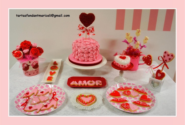 Tartas fondant mariceli mesa dulce para san valentin for Decoracion mesa san valentin