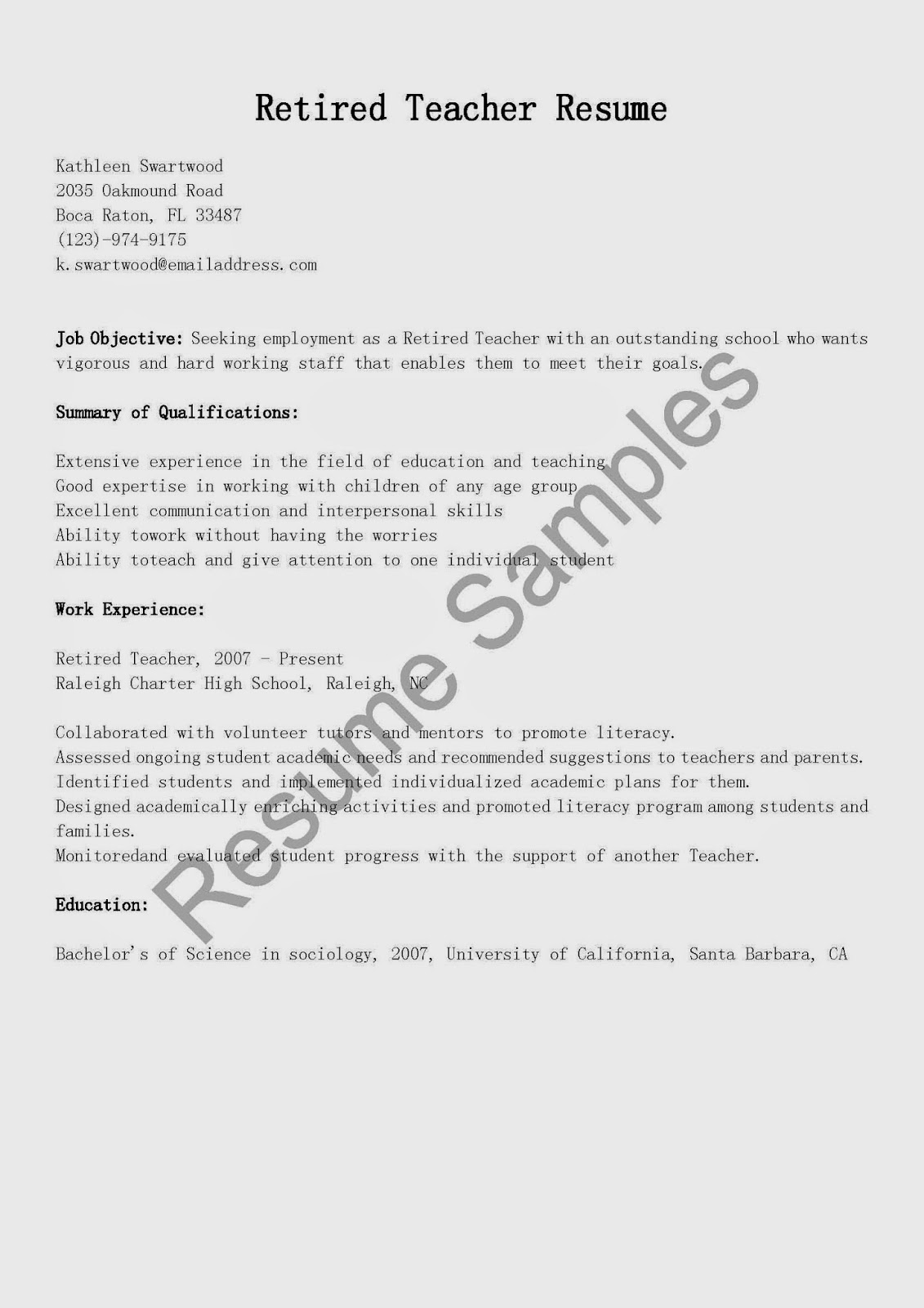 Resume Samples Retired Teacher Resume Sample