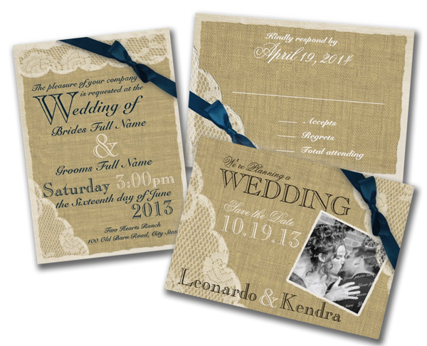 Antique White Lace Country Wedding Navy  Invitations
