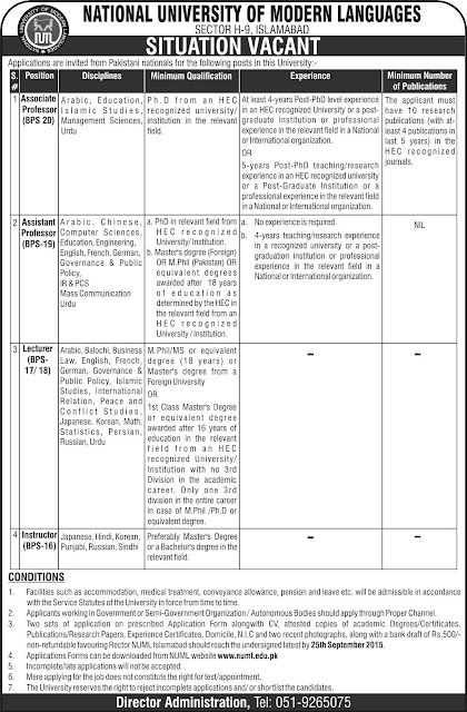 Teaching Jobs in NUML Islamabad