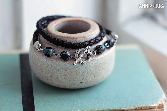украшения, бижутерия, браслеты, браслеты из кожи, кожа, черный, браслет-намотка